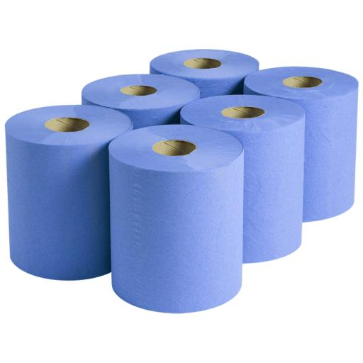 Blue 2 Ply Centrefeed Rolls (Pack of 6)