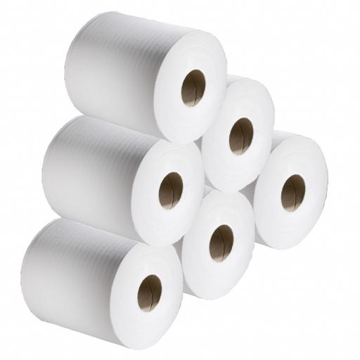 White 2 Ply Centrefeed Rolls (Pack of 6)