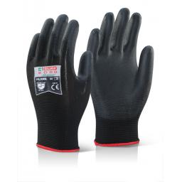 PU Coated Black Gloves (Per Pair)