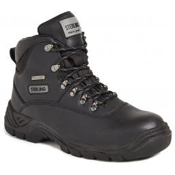 Black Full Grain Leather Safety Hiker Boot (Waterproof)