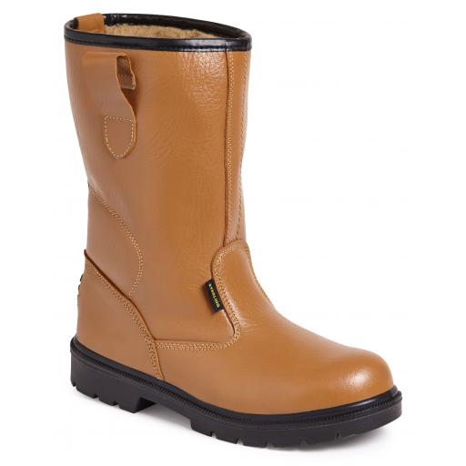 Tan Buffalo Grain Leather Rigger Boot (Fur Lined)