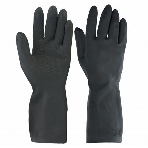 Household Heavy Weight Black Rubber Gloves (Per Pair)