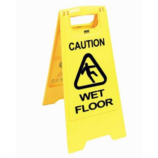 Yellow wet floor warning sign